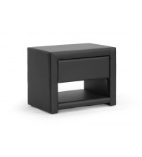 Baxton Studio BBT3092-Black-NS Massey Black Upholstered Modern Nightstand
