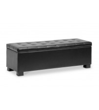 Baxton Studio BBT3101-Black-OTTO Roanoke Contemporary Black Ottoman