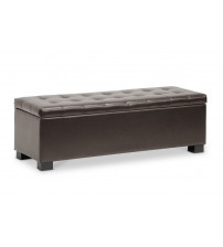 Baxton Studio BBT3101-Dark Brown-OTTO Roanoke Contemporary Dark Brown Ottoman