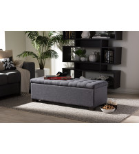 Baxton Studio BBT3101-OTTO-Dark Grey-H1217-20 Roanoke Dark Grey Fabric Upholstered Grid-Tufting Storage Ottoman Bench