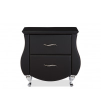 Baxton Studio BBT3116-Black-NS Erin Black Faux Leather Nightstand
