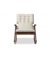 Baxton Studio BBT5179 Light Beige RC Agatha Mid-Century Upholstered Button-tufted Rocking Chair