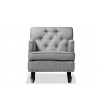 Baxton Studio BBT5189-Grey RC Bethany Grey Fabric Upholstered Button-tufted Rocking Chair