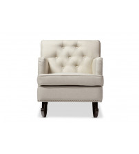 Baxton Studio BBT5189-Light Beige RC Bethany Light Beige Fabric Upholstered Button-tufted Rocking Chair