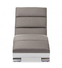 Baxton Studio BBT5194-Grey/White Percy and Contemporary Grey Fabric and White Leather Chaise Lounge