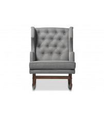 Baxton Studio BBT5195-Grey RC Iona Mid-Century Retro Modern Upholstered Button-tufted Wingback Rocking Chair