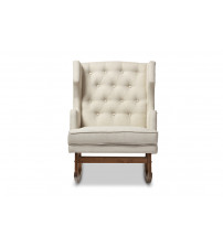 Baxton Studio BBT5195-Light Beige RC Iona Mid-Century Retro Modern Upholstered Button-tufted Wingback Rocking Chair