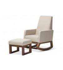 Baxton Studio BBT5200-Light Beige Set Yashiya Mid-century Retro Light Beige Fabric Rocking Chair and Ottoman Set