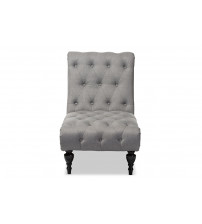 Baxton Studio BBT5211-Grey Chaise Layla Mid-Century Retro Modern Upholstered Button-tufted Chaise Lounge
