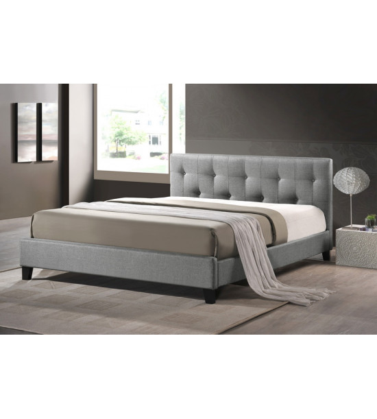 Baxton Studio BBT6140A2-DE800 Annette Linen Modern Bed with Upholstered Headboard - Queen Size in Gray