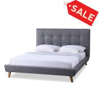Baxton Studio BBT6537-King-Grey Jonesy Scandinavian Style Mid-century Grey King Size Platform Bed