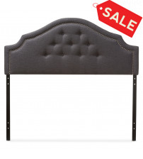 Baxton Studio BBT6564-Dark Grey-King HB Cora and Contemporary Dark Grey Fabric King Size Headboard