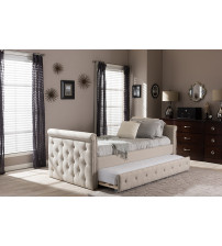 Baxton Studio BBT6576T-Beige-Twin Swamson Tufted Twin Size Daybed with Roll-out Trundle Guest Bed