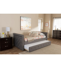 Baxton Studio BBT6576T-Grey-Twin Swamson Tufted Twin Size Daybed with Roll-out Trundle Guest Bed