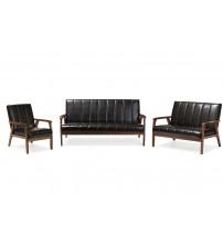 Baxton Studio BBT8011A2-Black 3PC Set Nikko Mid-century Black Faux Leather 3 Pieces Living Room Sets