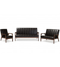 Baxton Studio BBT8011A2-Brown 3PC Set Nikko Mid-century Dark Brown Faux Leather 3 Pieces Living Room Sets