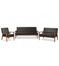 Baxton Studio BBT8013-Brown 3PC Set Sorrento Mid-century Retro Brown Leather Wooden 3 Piece Living room Set