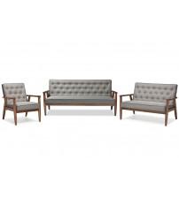Baxton Studio BBT8013-Grey 3PC Set Sorrento Mid-century Retro Grey Fabric Wooden 3 Piece Living room Set