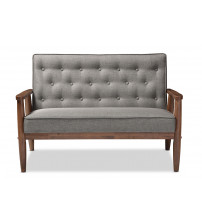 Baxton Studio BBT8013-Grey Loveseat Sorrento Mid-century Retro Grey Fabric Wooden 2-seater Loveseat