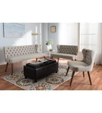Baxton Studio BBT8017-Beige-H1217-3-3PC-Set Scarlett Mid-Century Modern Brown Wood Button-Tufting with Nail Heads Trim Livingroom 3-Piece Sofa Set