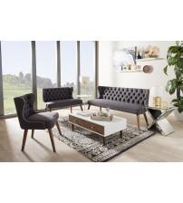 Baxton Studio BBT8017-Dark Grey-H1217-20-3PC-Set Scarlett Mid-Century Modern Walnut Brown Wood Button-Tufting with Nail Heads Trim Livingroom 3-Piece Sofa Set
