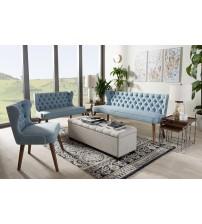 Baxton Studio BBT8017-Light Blue-H1217-21-3PC-Set Scarlett Mid-Century Modern Walnut Brown Wood Button-Tufting with Nail Heads Trim Livingroom 3-Piece Sofa Set
