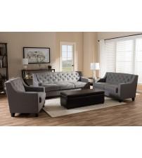 Baxton Studio BBT8021-Grey-XD45-3PC-Set Arcadia Modern and Contemporary Button-Tufted 3-Piece Living Room Sofa Set
