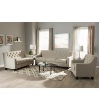 Baxton Studio BBT8021-Light Beige-6086-1-3PC-Set Arcadia Modern and Contemporary Button-Tufted 3-Piece Living Room Sofa Set