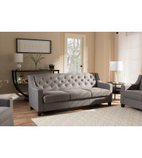 Baxton Studio BBT8021-SF-Grey-XD45 Arcadia Modern and Contemporary Button-Tufted Living Room 3-Seater Sofa