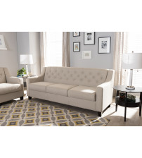 Baxton Studio BBT8021-SF-Light Beige-6086-1 Arcadia Modern and Contemporary Button-Tufted Living Room 3-Seater Sofa