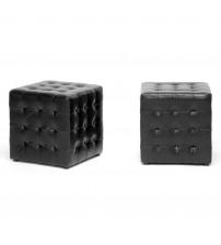 Baxton Studio BH-5589-BLACK-OTTO Siskal Modern Cube Ottoman Set of 2