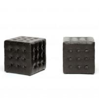 Baxton Studio BH-5589-DARK BROWN-OTTO Siskal Modern Cube Ottoman Set of 2