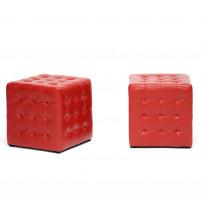 Baxton Studio BH-5589-RED-OTTO Siskal Modern Cube Ottoman Set of 2