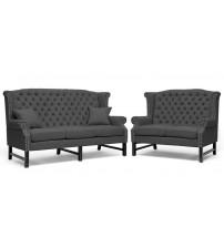 Baxton Studio BH-63102-LS-Grey/3S Sussex Linen Sofa Set