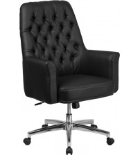 Flash Furniture BT-444-MID-BK-GG Mid-Back Traditional Tufted Leather Executive Swivel Chair with Arms in Black
