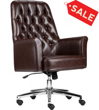 Flash Furniture BT-444-MID-BN-GG Mid-Back Traditional Tufted Leather Executive Swivel Chair with Arms in Brown