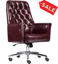 Flash Furniture BT-444-MID-BY-GG Mid-Back Traditional Tufted Leather Executive Swivel Chair with Arms in Burgundy