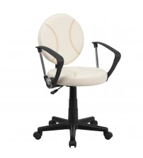 Flash Furniture Baseball Task Chair with Arms [BT-6179-BASE-A-GG]