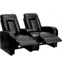 Flash Furniture BT-70259-2-P-BK-GG Black Leather Theater Seating in Black