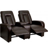 Flash Furniture BT-70259-2-P-BRN-GG Brown Leather Theater Seating in Brown
