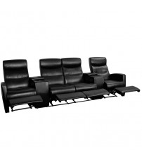 Flash Furniture Black Leather 4-Seat Home Theater Recliner with Storage Consoles BT-70273-4-BK-GG