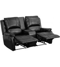 Flash Furniture BT-70295-2-BK-GG Black Leather Pillowtop 2-Seat Home Theater Recliner with Storage Console