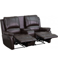 Flash Furniture BT-70295-2-BRN-GG Brown Leather Pillowtop 2-Seat Home Theater Recliner with Storage Console