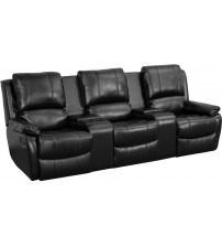 Flash Furniture BT-70295-3-BK-GG Black Leather Pillowtop 3-Seat Home Theater Recliner with Storage Consoles