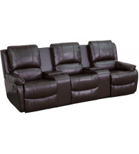 Flash Furniture BT-70295-3-BRN-GG Brown Leather Pillowtop 3-Seat Home Theater Recliner with Storage Consoles