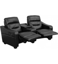 Flash Furniture BT-70380-2-BK-GG Futura Series 2-Seat Reclining Black Leather Theater Seating Unit with Cup Holders