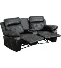 Flash Furniture BT-70530-2-BK-CV-GG Real Comfort Series 2-Seat Reclining Black Leather Theater Seating Unit with Curved Cup Holders