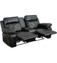 Flash Furniture BT-70530-2-BK-GG Real Comfort Series 2-Seat Reclining Black Leather Theater Seating Unit with Straight Cup Holders