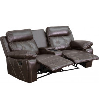 Flash Furniture BT-70530-2-BRN-CV-GG Real Comfort Series 2-Seat Reclining Brown Leather Theater Seating Unit with Curved Cup Holders
