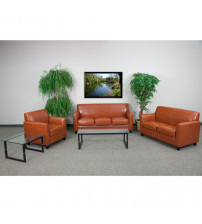 Flash Furniture BT-827-SET-CG-GG Hercules Diplomat Series Reception Set in Cognac